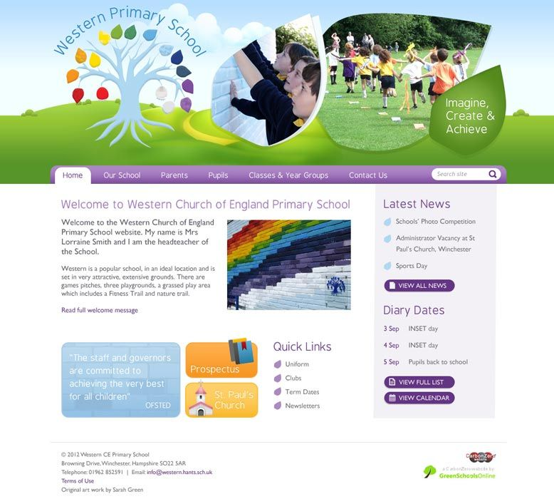 Enlarge Western CE Primary School website design