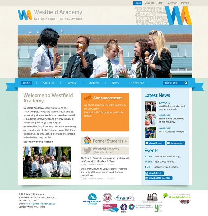 Enlarge Westfield Academy website design