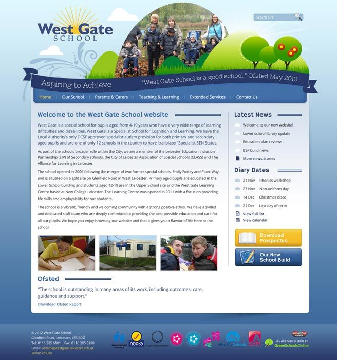 Enlarge West Gate School website design