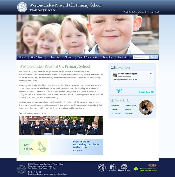 Enlarge Weston-under-Penyard CE Primary School website design