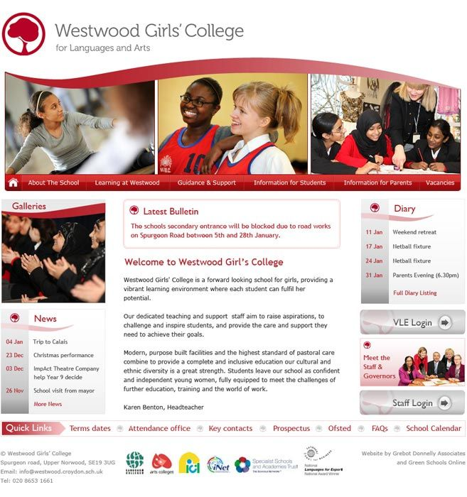 Enlarge Westwood Girls School website design
