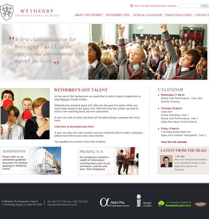 Enlarge Wetherby Preparatory School website design