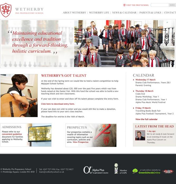 Enlarge Wetherby School website design