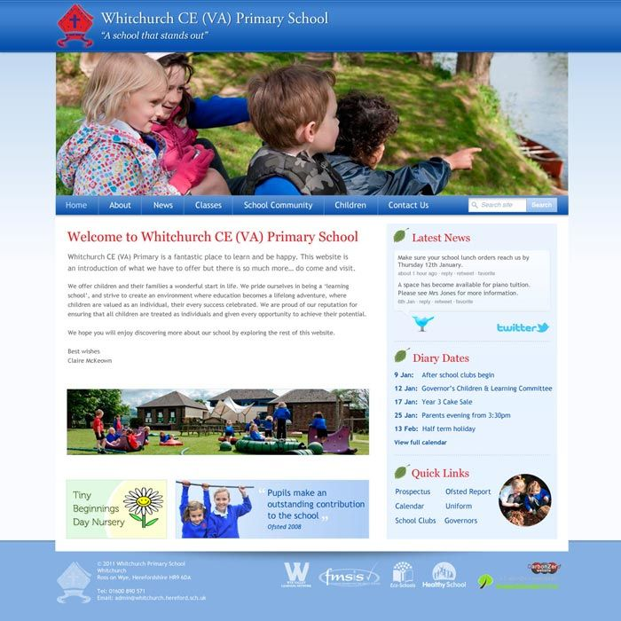 Enlarge Whitchurch Primary website design