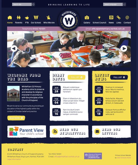 Enlarge Whitefriars Church of England Primary Academy website design