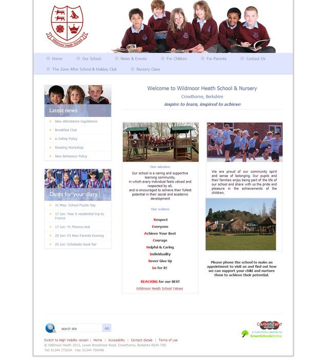 Enlarge Wildmoor Heath website design