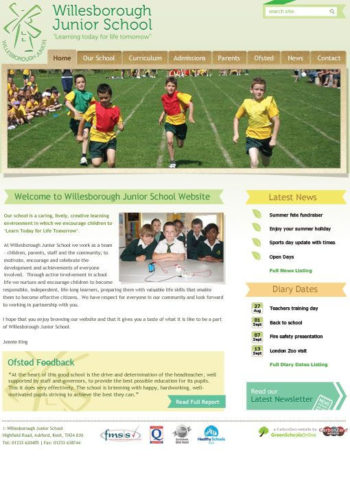 Enlarge Willesborough Junior School website design