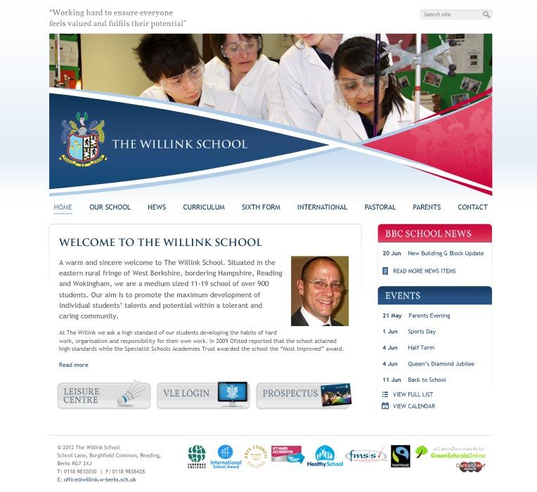 Enlarge Willink School website design