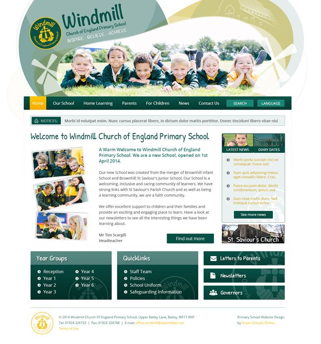 Enlarge Windmill Church Of England Primary School website design