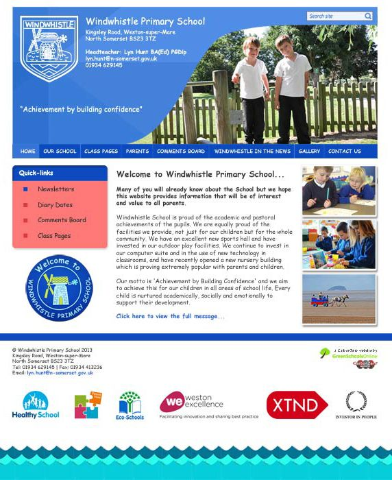 Enlarge Windwhistle Primary School website design