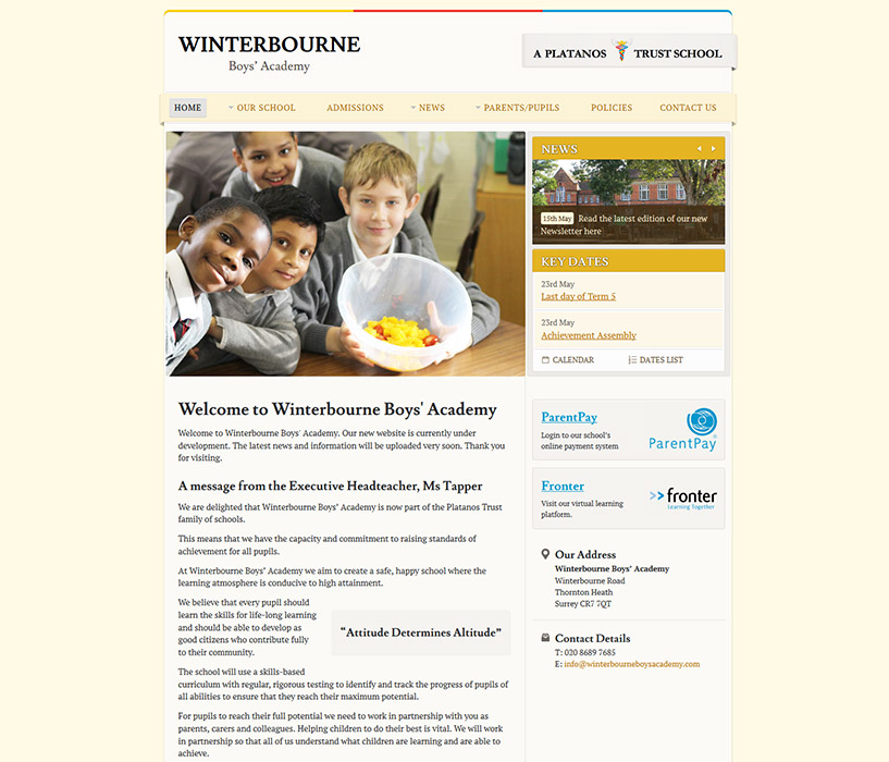 Enlarge Winterbourne Junior Boys' School website design