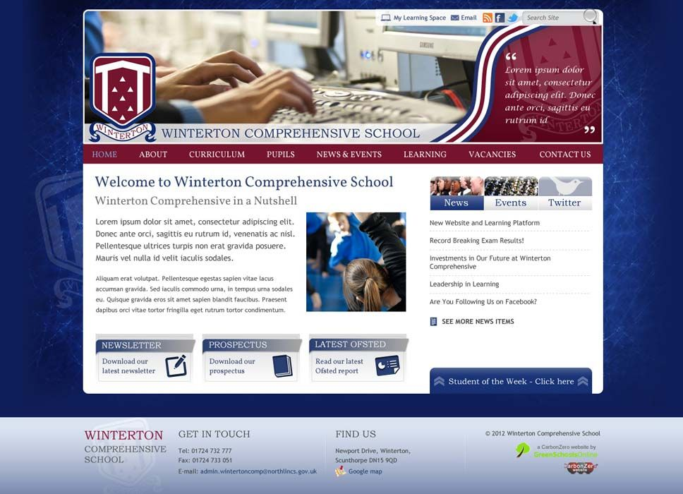 Enlarge Winterton Secondary School website design