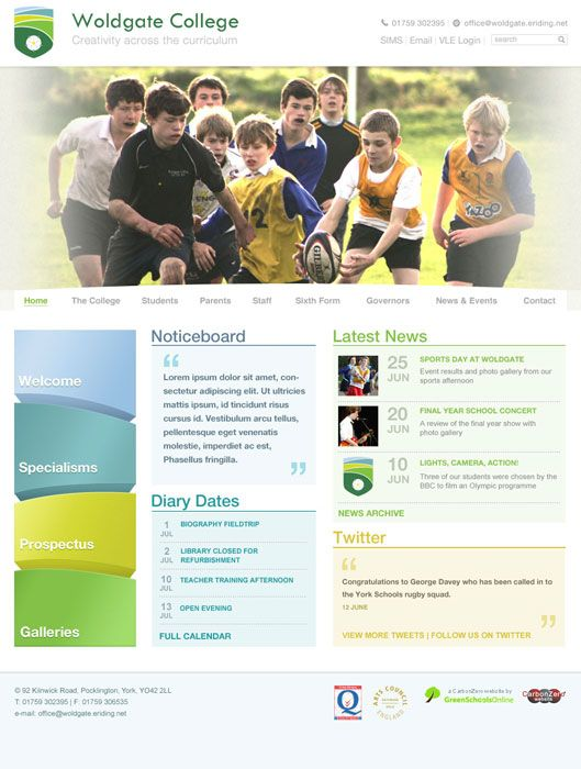 Enlarge Woldgate College website design
