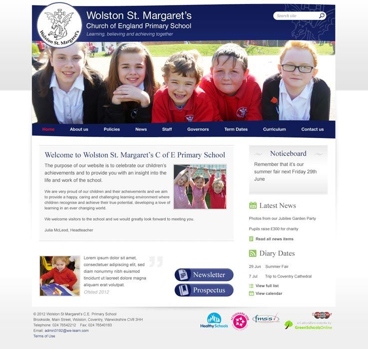 Enlarge Wolston St Margarets website design