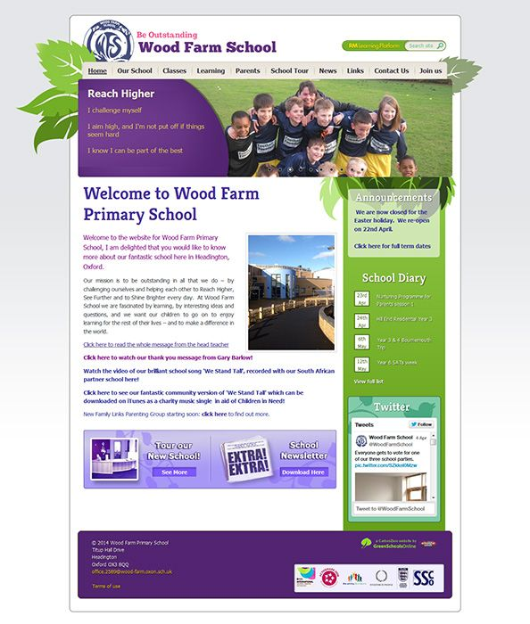 Enlarge Wood Farm Primary School website design