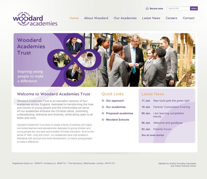 Enlarge Woodard Academies Trust website design