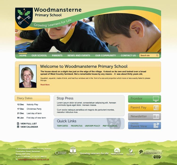 Enlarge Woodmansterne Primary School website design