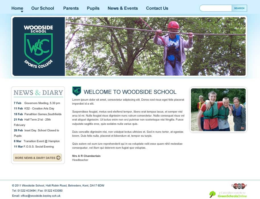 Enlarge Woodside School (Bexley) website design