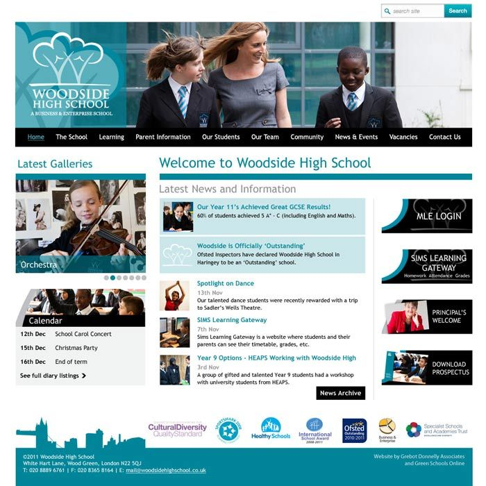 Enlarge Woodside High School (Wood Green) website design