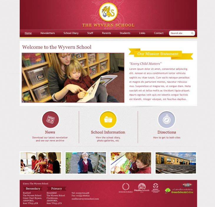 Enlarge Wyvern School website design