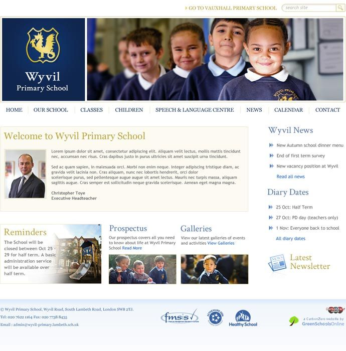 Enlarge Wyvil School website design