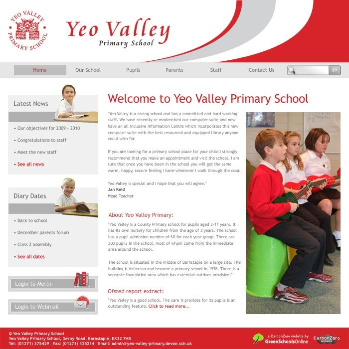 Enlarge Yeo Valley Primary website design