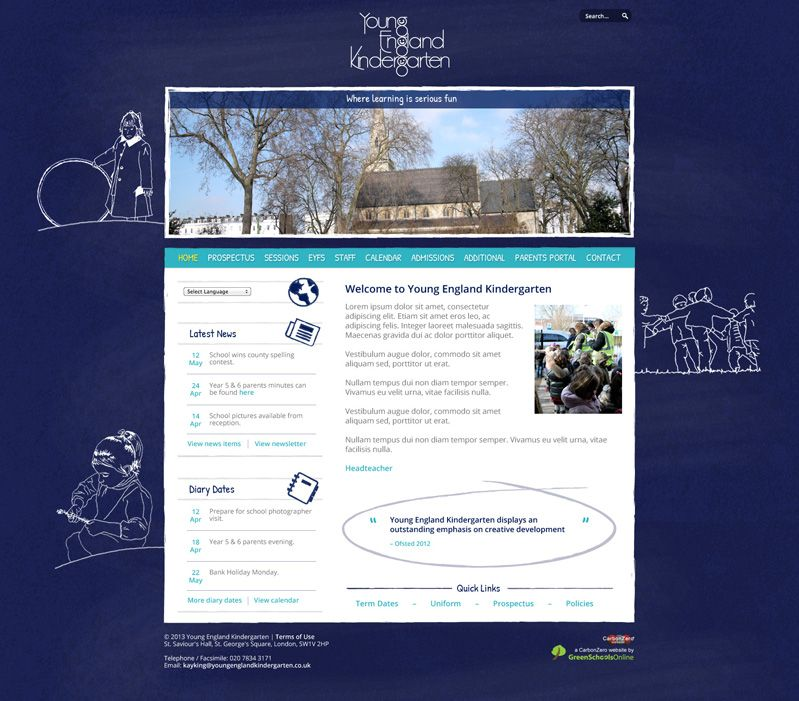 Enlarge Young England Kindergarten website design
