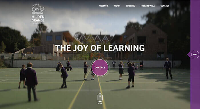 Hilden Grange school website design