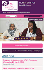 North Bristol Post 16 Centre mobile school website design